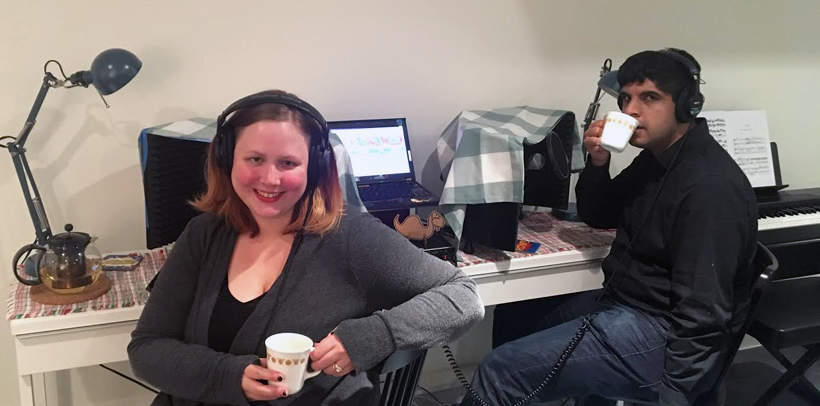 Liz Denys and Geoffrey Thomas where they record the podcast